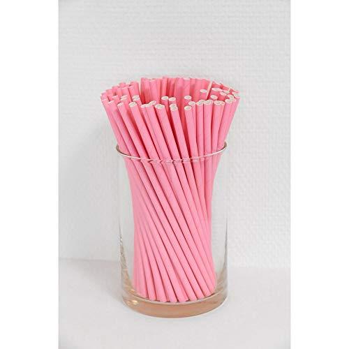 Papierstrohhalme 100 Stück rosa, Party, Hochzeit, Cake-Pops-Stick, Geburtstag