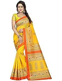 KBF Women Cotton Silk Saree With Blouse Piece (Yellow_Free Size)