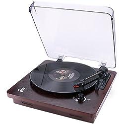 Tourne-Disque de dl Platine Vinyle Turntabl Style Noyer avec Couvercle Transparent Anti-poussière Enregistrement PC Vinyle à MP3, Sortie RCA au Lecteur Audio, Aux