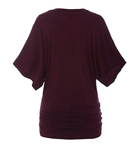ReliBeauty Damen Boot Ausschnitt T-Shirt Mehrfarbig Farbe Block Raglan Ärmel Falten Tunika Tops Burgundy