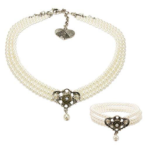 Alpenflüstern Trachtenschmuck-Set Perlen-Trachtenkette und Trachten-Armband Hedwig - Damen-Trachten-Schmuck, Trachtenset Dirndl-Kette und Trachten-Armkette Creme-weiß SET035
