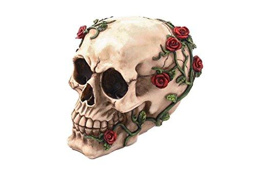 Calavera con rosas Gothic cm 10resina acabado y multicolor