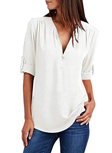 Weiße Langarm-top (Damen Chiffon Blusen Elegante Reißverschluss Kurzarm Bluse Tunika Oberteile T-Shirt V-Ausschnitt Tops A Weiß XL)
