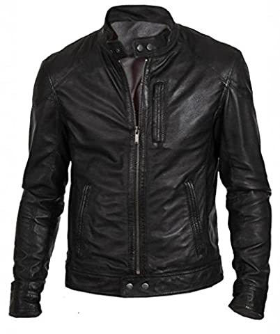 TLF The Leather Factory Veste en cuir d'agneau véritable pour homme style motard Noir - noir - XXX-Large
