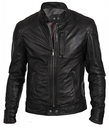 TLF la fabbrica di pelle da uomo moda classica in vera pelle nera Biker giacca Black Medium