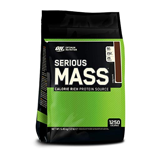 Optimum Nutrition ON Serious Mass Hochkalorisches Weight Gainer Protein Pulver mit Kohlenhydrate, Whey Protein, Vitaminen, Kreatin und Glutamin, Chocolate, 16 Portionen, 5.45kg