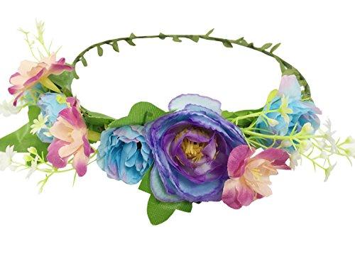 JTC Guirlande Couronne Floral Accessoire de Fête Mariage Bandeau de Cheveux Serre-tête Type1 Violet