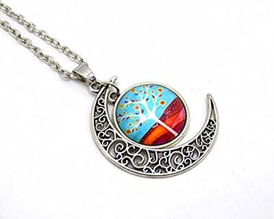 Pendentif cabochon croissant de lune arbre de vie - croissant de lune cabochon arbre de vie, bijoux cabochon verre
