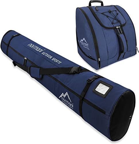 normani Kombi Skitaschen Set bestehend Verstellbarer Ski-Tasche 160-190cm und Zubehörtasche für Schuhe, Helm und weiteres Equipment Farbe Navy