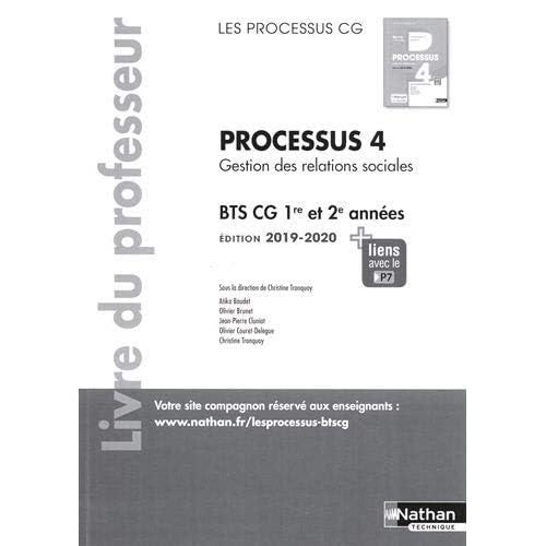 Processus 4 Gestion des relations sociales BTS CG 1re et 2e années : Livre du professeur