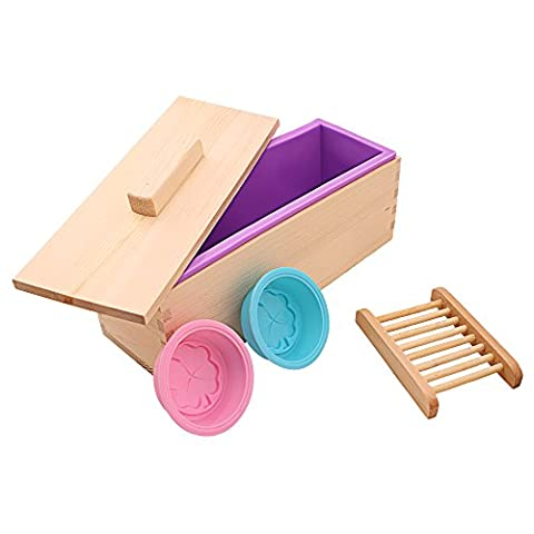 TTLIFE Rectangular Silicone Soap Mold with Wood Box and Wood Lid with 2 pressing Holes, 2-piece Round Silicone Mold and a Wood Soap Holder for Free (Purple)