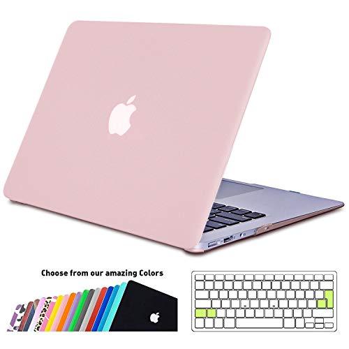 iNeseon Funda MacBook Air 13, Carcasa Delgado Case Duro y Cubierta del Teclado Transparente EU Layout para MacBook Air 13.3 Pulgadas Modelo A1466 y A1369, Cuarzo Rosa