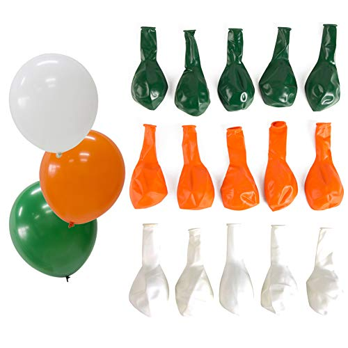 SUNBEAUTY 15 Luftballons Set Latex Ballons Nationalfeiertag Party Dekoration Irland St. Patrick's Day (orange & grün & weiß) -