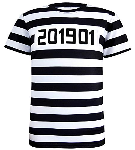 COSAVOROCK Men's Prisoner Costume Striped T-Shirts (XL)