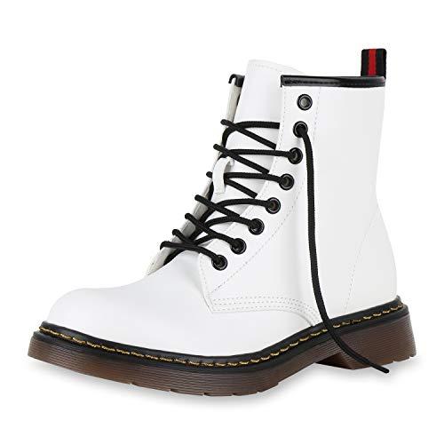SCARPE VITA Damen Stiefeletten Worker Boots Leicht Gefütterte Outdoor Schuhe 174243 Weiss 38