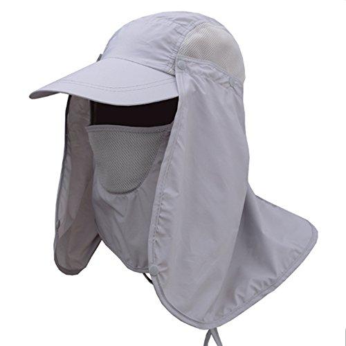 Honor Jojoba Sonnenhut Nackenschutz Fischerhut Sommer Hut Cap Muetze mit UV Schutz mit Maske Mund und Nacken Schutz für Trekking Herren und Frauen (Grau)