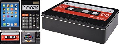 Elyte Retail Funky Retro Vintage Style Dekorative Aufbewahrung Dosen in 4Designs–TV mit Test Karte, Tape, Smart Telefon, Taschenrechner Calculator
