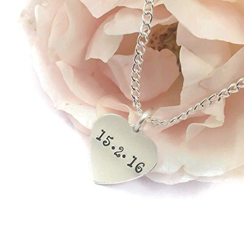 Personalised heart necklace with date, anniversary gift for girlfriend