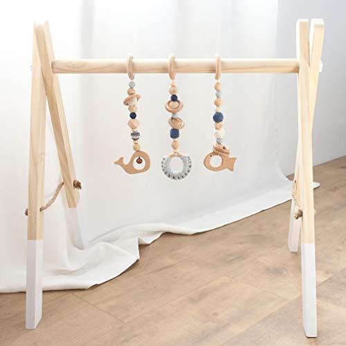 Mamimami Home Spielbogen für Babys Holz Faltbare Aktivität Spiel Gym Spielzeug Natürliche Hängen Bar Sensorische Spielzeug Neugeborenen Geschenk mit Anhänger Beißring