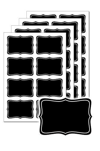 32 Tafeletiketten, selbstklebend, zum Beschriften mit Kreide, z.B. für Vorratsgläser, Gewürzgläser, Ansatzgefäße oder zur Beschriftung von Buffets