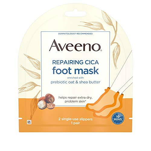 Aveeno Repairing CICA Foot Mask with Prebiotic Oat and Shea Butter, Moisturizing Foot Mask for Extra Dry Skin, 1 Pair of Single-Use Slippers