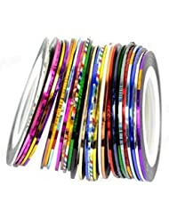 Cheeky 30 Couleurs Différentes Striping Tape Fil Bande Autocollant Sticker Nail Art Ongles.
