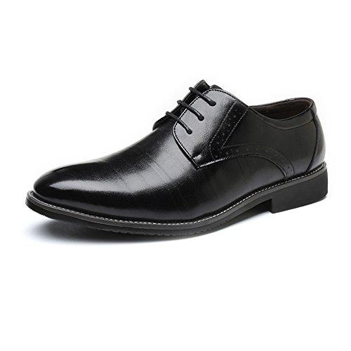 DRLLYY Herren Business Schuhe Klassische Matte PU Leder Obere Schnürung Atmungsaktiv Gefütterte Halbschuhe Klassisch (Color : Schwarz, Größe : 41 EU) (Halbschuhe Gefütterte Klassische)