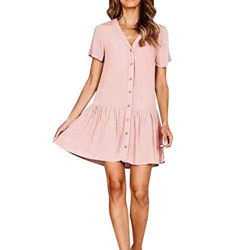 KIMODO Damen Kleider Einfarbig Frauen Kleider V-Ausschnitt Taste Minikleid Beiläufig Partykleid Kurzarm Abendkleid Mode 2019 Sommer Strandkleid