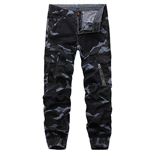 AYG Herren Camouflage Hose Cargo Hosen Combat Trousers(blue gray camo,32)