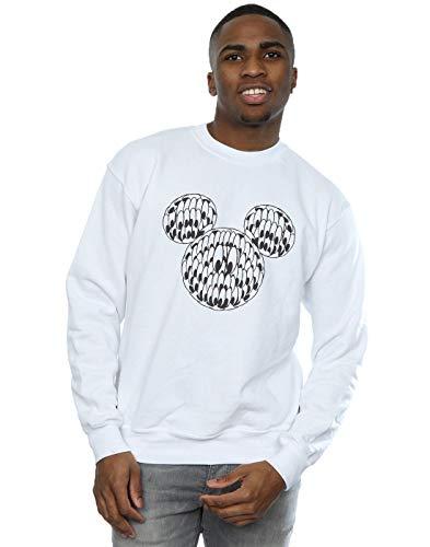 Disney Herren Mickey Mouse Head of Eyes Sweatshirt Weiß XX-Large