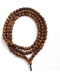 d4527b9c304e5 Ovalbuy Bracelet Mala 108 perles tête de mort Collier Mala de Prière  Bouddhiste en Bois Sculpté