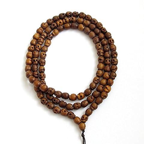 Ovalbuy Bracelet Mala 108perles tête de mort Collier Mala de Prière Bouddhiste en Bois Sculpté