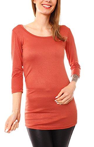 Easy Young Fashion Damen Basic Shirt Longshirt Halbarm Rundhals Uni Papaya