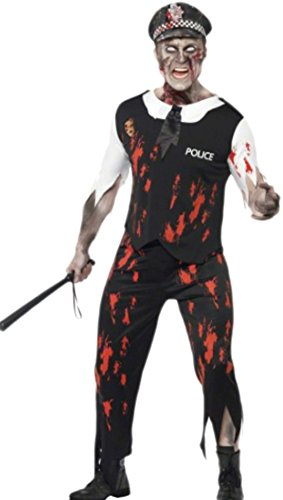Fancy Ole - Herren Männer Zombie Police Officer mit Hut Kostüm , M, (Kostüm Officer Police Black)