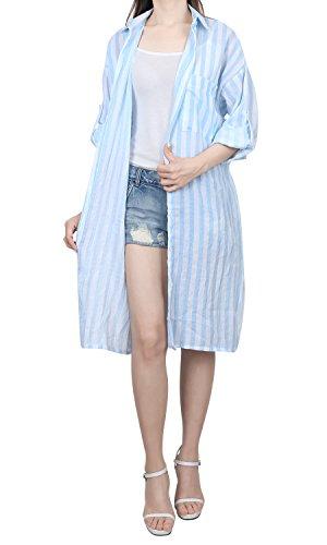 ililily Gestreift Muster Hemd Strickjacke Asymmetric Saum Hosentasche Duster Lang Jacke, Sky Blue (Roll Shirt Stripe Sleeve)