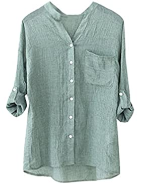 IMJONO Mujeres de algodón de manga larga sólida camisa suelta blusa suelta Button Down Tops