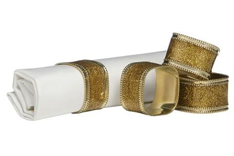 Premier Housewares Square Glitter Napkin Rings - Set of 4, Gold