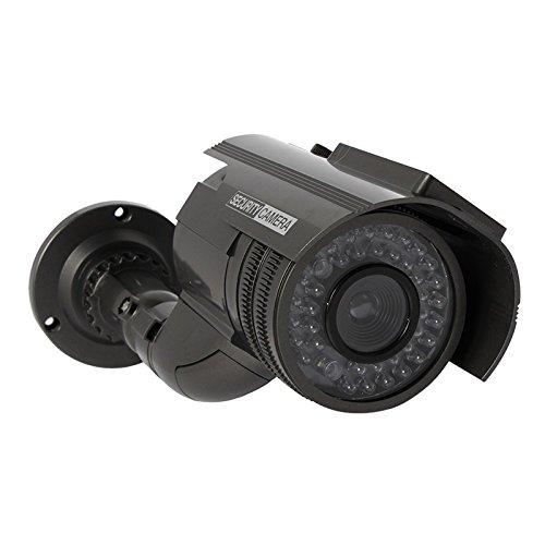 Dynamic CCTV Outdoor Fake Dummy Camera Solar Powered Waterproof with Flashing Light – Black