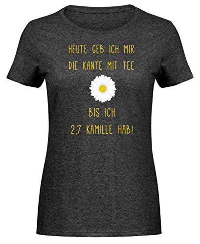 Lustiger Spruch Witz Kamille Tee Alkohol Ironisch - Nicht nur für Teetrinker - Damen Melange Shirt -M-Dunkelgrau Meliert -