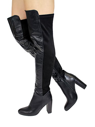 Generic, Stivali donna Black Faux Leather