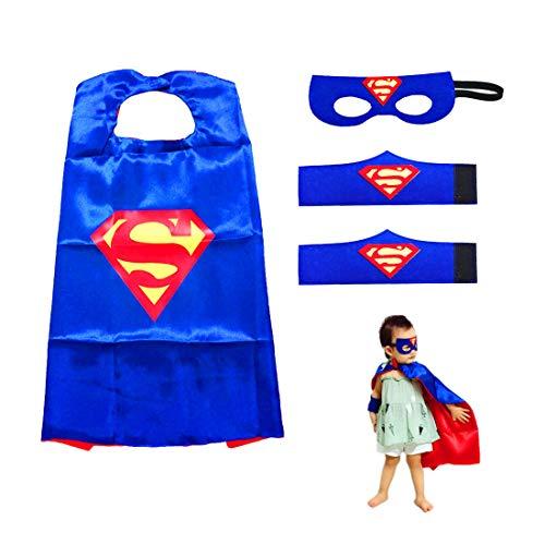 Superhelden Kostüme für Kinder LMYTech Superhelden Umhang Maske/Superhelden Masken/Filz Masken/Superheld Cosplay Party Augenmasken/Perfekt für Kinder im Alter von 3 +,Blauer Supermann