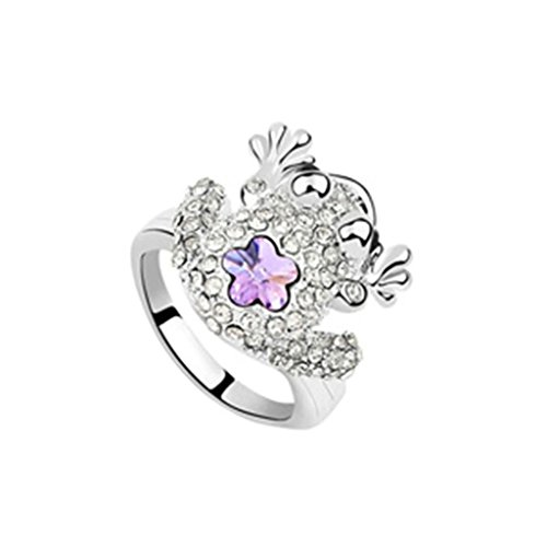 Epinki Damen Ringe, Edelstahl Damenringe Frosch Form Verlobungsringe Solitärring Eheringe Violet mit Zirkonia Gr.54 (Und Paar Prinzessin Kostüm Frosch)