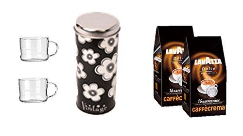 Lavazza Kaffeepads Caffè Crema Classico, 2er Pack, 2 x 16 Kaffee Pads + Geschenkeset Pad Dosen Deko mit 2 Glastassen mit Henkel passend für Padmaschinen
