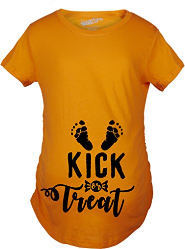 Crazy Dog Tshirts Maternity Kick or Treat Tshirt Funny Halloween Pregnancy Announcment Tee -L - Damen - L