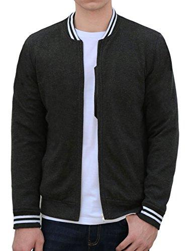Allegra K Herren Stehen Collar Reißverschluss Vorne Lange Ärmel Varsity Jacke M (EU 48) (Varsity-streifen-pullover)