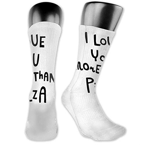 ormance Cushion Crew Socks Tube Socks I Love You More Than Pizza New Middle High Socks Sport Gym Socks ()