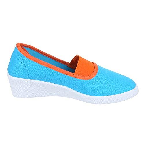 Damen Schuhe, 2015-12, HALBSCHUHE SLIPPER KEILABSATZ Blau Orange