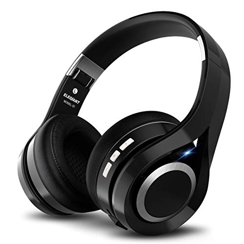 Casque bluetooth, ELEGIANT Écouteur bluetooth sans Fil Headset Wireless Réglable Mains libres + Mic/aux Audio 3,5 mm Compatible avec Smartphone Iphone Android Ordinateur PC Tablette (noir )