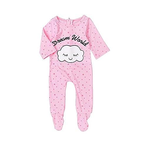 PanDaDa Neugeborene Baby Mädchen Pyjamas Sleeper Wolke & Sterne Muster Footies Overalls Spielanzug Kleidung