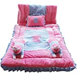 Safe N Cute Baby Rabbit Super Soft Full Sleeping Set With Duvet (Pink-Sky Blue ) - Trusted Brand High Quality / For Child Whose Age Is B/w 0 - 30 Months Or 2.5 Years /2 Rabbit Pillows , 1 Velvet Super Soft Sleeping Base, 1 Velvet Duvet , 1 Rectangular Pil